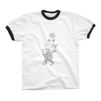 カエルのおっさん リンガーTシャツ