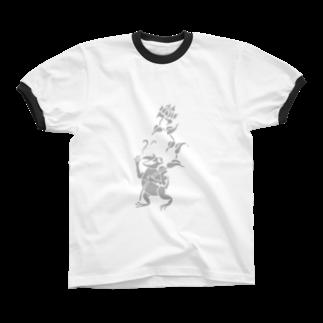 ツバメ堂のカエルのおっさん リンガーTシャツ