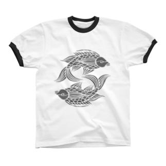 沖縄の風♪ 壷屋焼風双魚文(濃い目) リンガーTシャツ