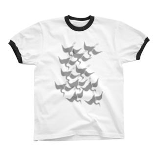 琳派風鶴 リンガーTシャツ