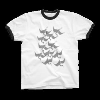 ツバメ堂の琳派風鶴 リンガーTシャツ