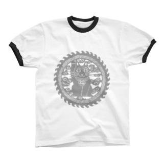招き猫の円 リンガーTシャツ