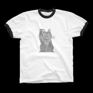 ツバメ堂のまねきねこ・大きいの リンガーTシャツ