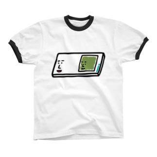 キャラNo.57プレパラートくん(スライドガラスとカバーガラスくん) リンガーTシャツ