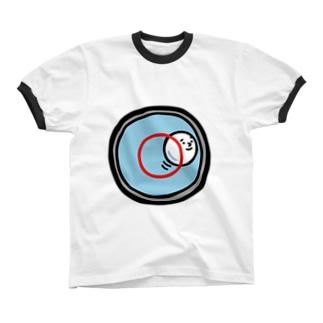 キャラNo.53水準器の中の気泡くん  リンガーTシャツ