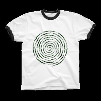 ツバメ堂のぐるぐるヘビ Ringer T-shirts