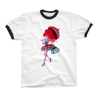A Walking Girl Ringer T-shirts