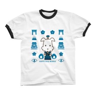 HAPPY DOG WORKS 武士_模様A リンガーTシャツ