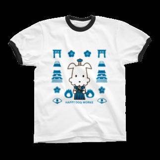 HAPPYDOG製作所@SUZURI支店のHAPPY DOG WORKS 武士_模様A リンガーTシャツ