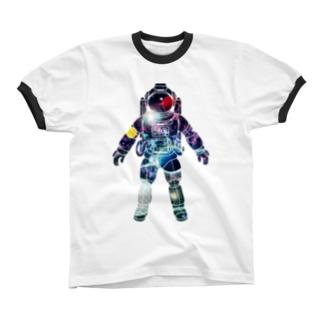 夢見る宇宙服-プラネット Ringer T-shirts