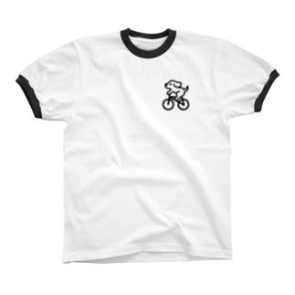 わんこ自転車にのる リンガーTシャツ