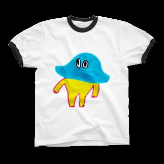 むきむき   地球生活の円盤ファミリー Ringer T-shirts