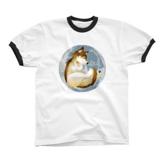 月に狼 リンガーTシャツ