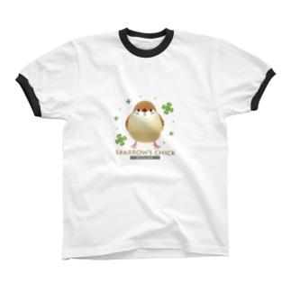 子スズメ リンガーTシャツ