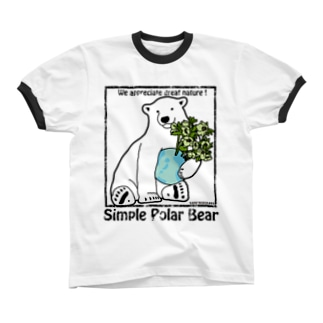 Simple Polar Bear リンガーTシャツ