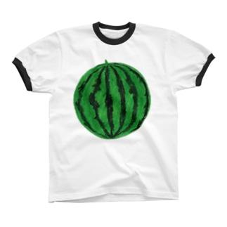 スイカ(緑) リンガーTシャツ