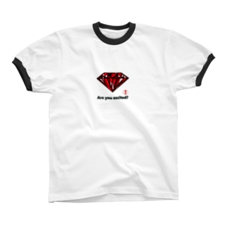 are you excited ? 赤 Ringer T-shirts