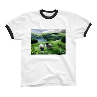 雨あがり Ringer T-shirts