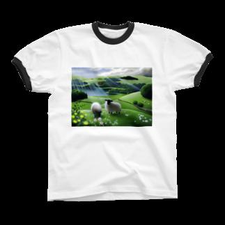 KimikoUmekawaの雨あがり Ringer T-shirts