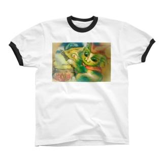 月猫さま リンガーTシャツ