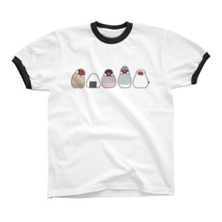 文鳥とおにぎり リンガーTシャツ