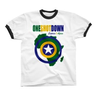 キャプテン☆アフリカ アフリカンシールド (カラー) リンガーTシャツ