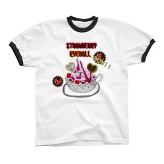 STRAWBERRY EYEBALL リンガーTシャツ
