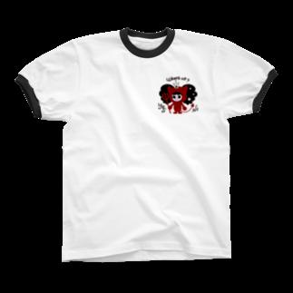 bAbycAt イラストレーションのCOTTON BABY(デビル) Ringer T-shirts
