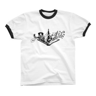 -Noir+Angelique- メモリアルイラスト柄シリーズ Ringer T-shirts