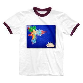 【がじゅまるさん】 レイニー Ringer T-shirts