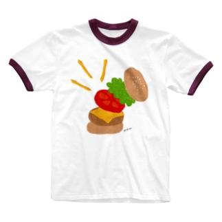 楽しくなっちゃうハンバーガー Ringer T-shirts
