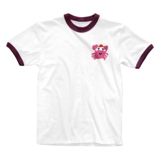 旅に行くカニ Ringer T-shirts