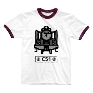 名入れ可「C51」蒸気機関車  Ringer T-shirts
