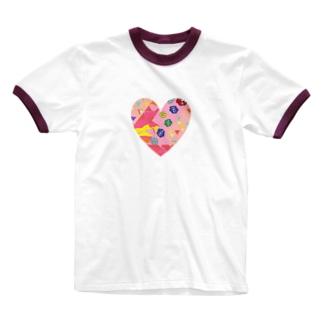 つぎはぎハート Ringer T-shirts