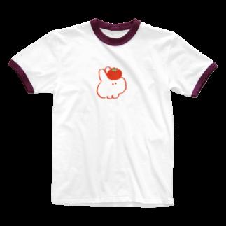 もくもくちゃんのトマトとウサギ Ringer T-shirts