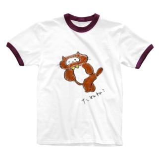 たぬねこ1 Ringer T-shirts
