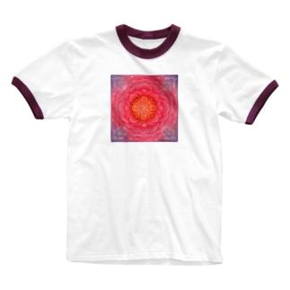 情熱の曼荼羅アート Ringer T-shirts