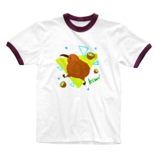 ごきげんキウィ Ringer T-shirts