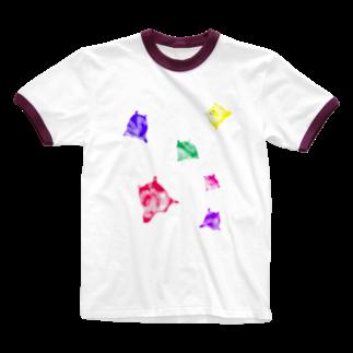 kurobe-のカラフルナニカ Ringer T-shirts