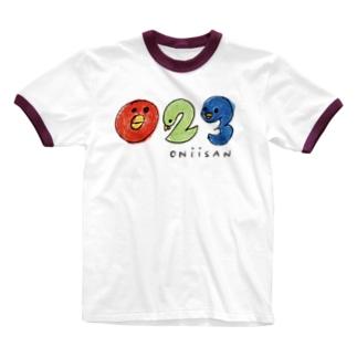 「023」おにいさんです! Ringer T-shirts