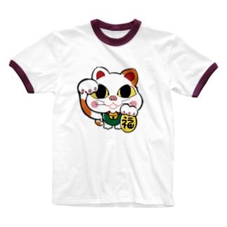 招き猫  Ringer T-shirts