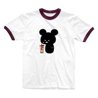 目からタピオカ クマ Ringer T-shirts