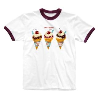 チェリー乗せアイスクリーム Ringer T-shirts
