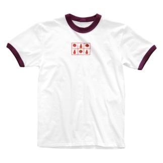 トマトとケチャップの柄 Ringer T-shirts
