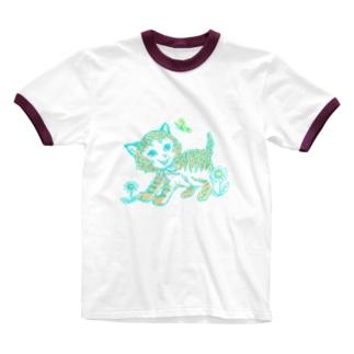 むじゃきなネコちゃん Ringer T-shirts