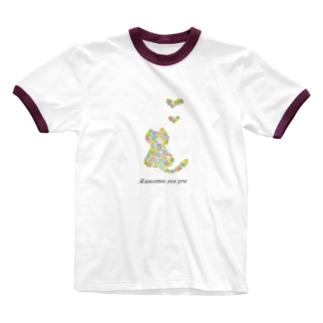 フラワーキャット(猫) Ringer T-shirts