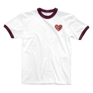 赤の紅型ハート Ringer T-shirts