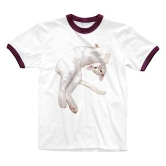 白猫むくちゃんは撫でてほしい Ringer T-shirts