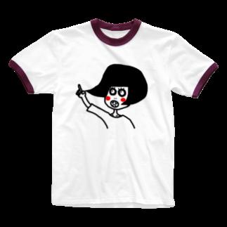 ながいひるの黒い真昼ちゃん(ほっぺが赤い) Ringer T-shirts