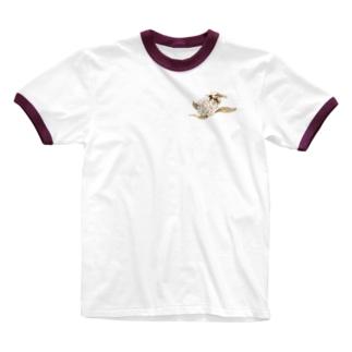 どろーいんぐ屋の蜜蜂 Ringer T-shirts